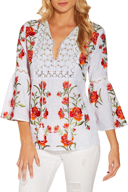 Floral embroidered linen peasant top image