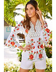 Floral Embroidered Linen Peasant Top Photo