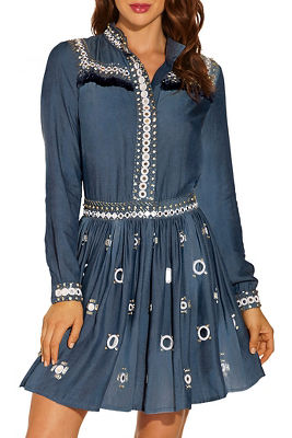 Chambray embellished shirtdress
