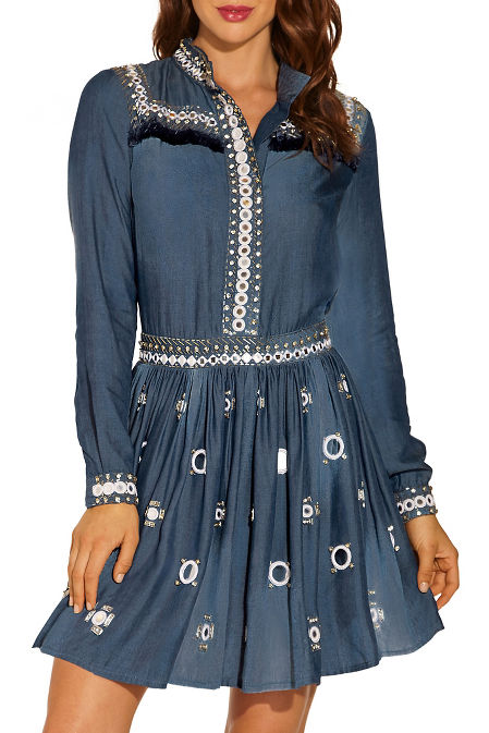 Chambray embellished shirtdress image