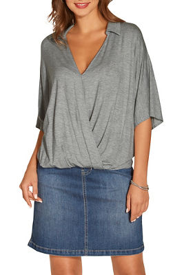 Collared surplice top