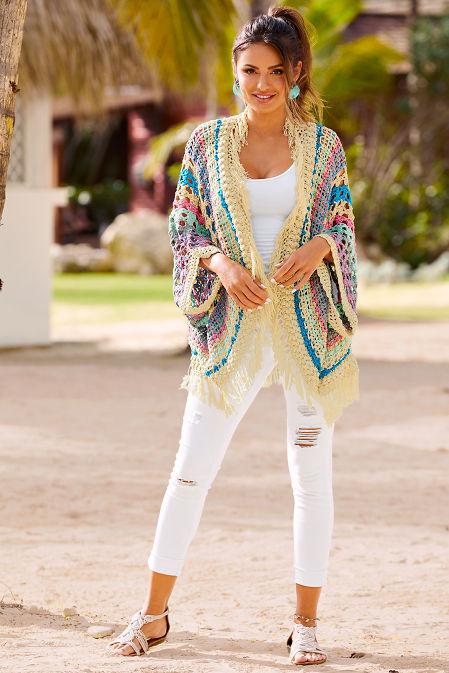 Crochet stripe cardigan image