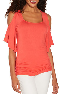 Cold shoulder square neck top