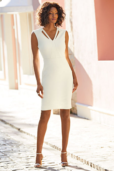 Cutout v neck detail dress image
