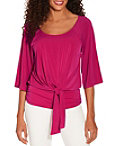 Drape Tie Front Scoop Neck Top Photo