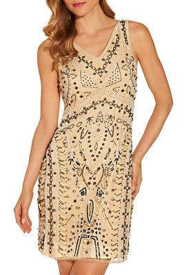Embellished shell v neck dress