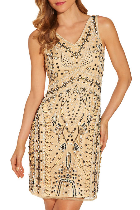 Embellished shell v neck dress image