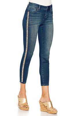 Embellished racer stripe crop jean