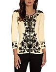 Embroidered Edged Zip Cardigan Photo