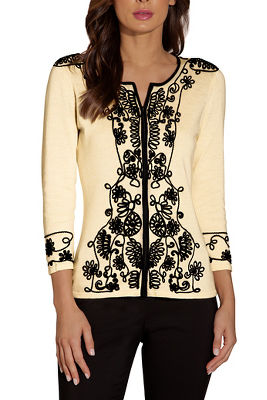 Embroidered edged zip cardigan