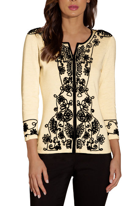 Embroidered edged zip cardigan image