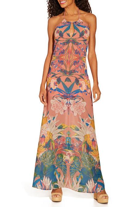 Floral halter maxi dress image