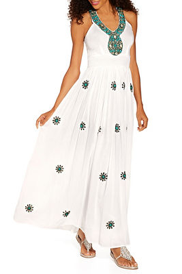 halter turquoise embellished maxi dress