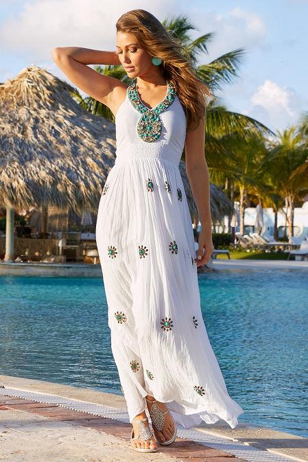 Halter turquoise embellished maxi dress image