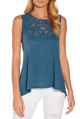 Illusion appliqué sleeveless top