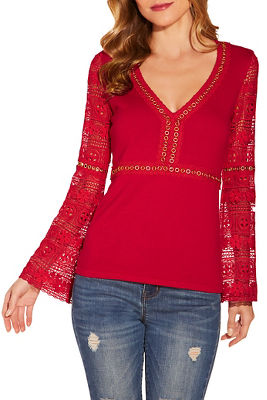 Lace and grommet sweater