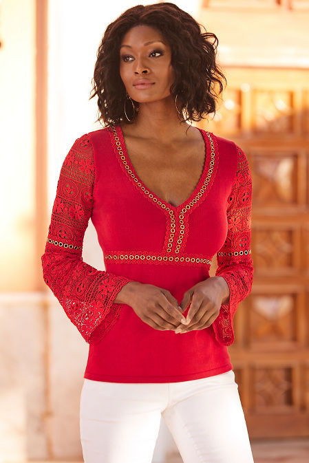 Lace and grommet sweater image