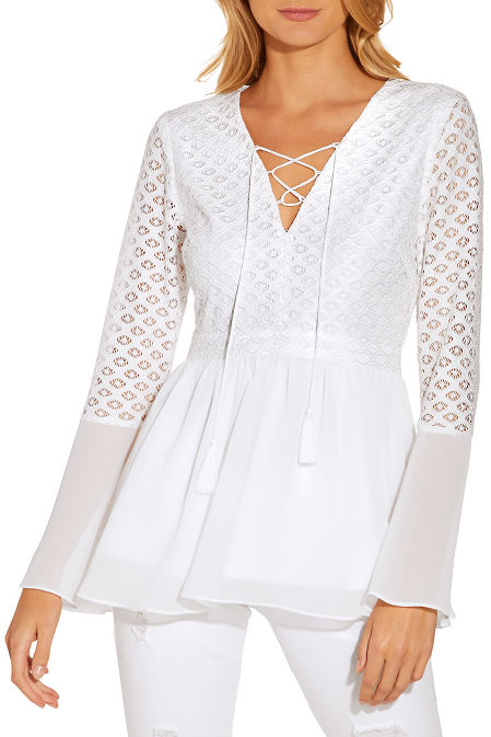 Lace up bell sleeve top image