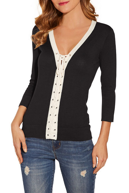 Lace up v neck sweater image