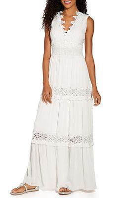 Lace v neck inset maxi dress