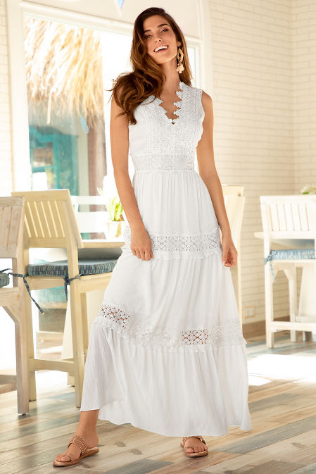 Lace v neck inset maxi dress image