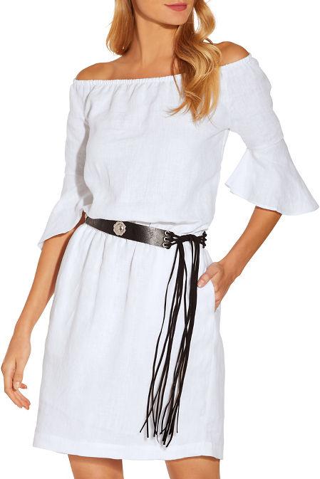Linen off the shoulder dress image