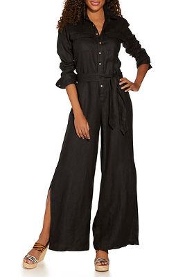Linen utility jumpsuit