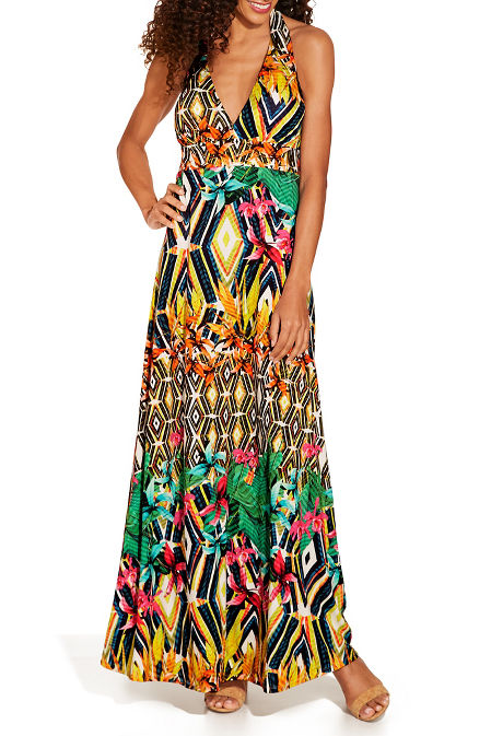 Mixed print maxi dress image