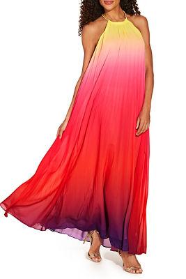 Ombré pleated dress