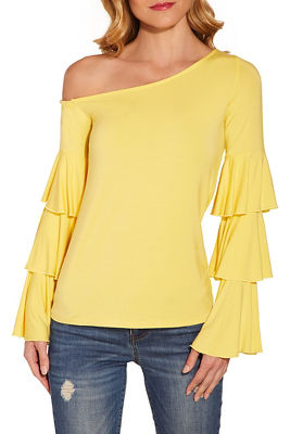 One shoulder tier sleeve top