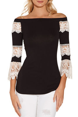 Display product reviews for Off the shoulder lace sleeve top