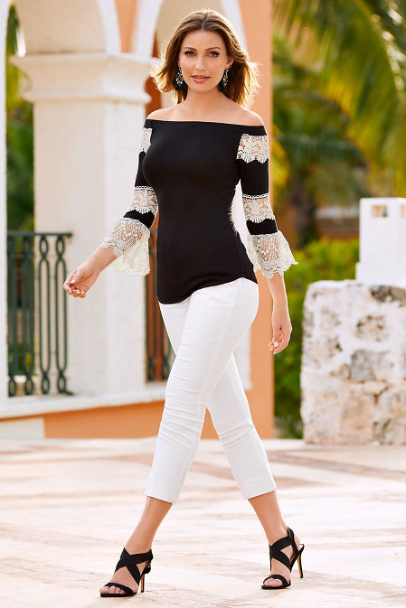 Off the shoulder lace sleeve top image