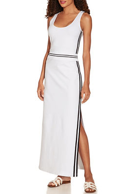 Ribbed band track stripe maxi dress