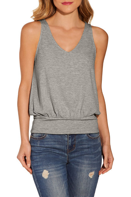 Ribbed blouson tank top image