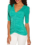 Ruched Covered Button Elbow Sleeve Top Photo