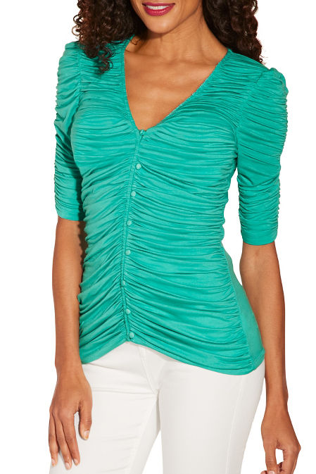 Ruched covered button elbow sleeve top image