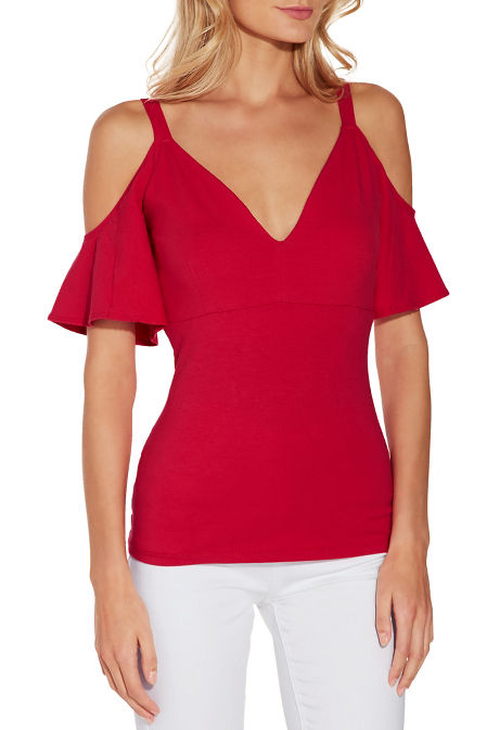 So Sexy™ cold shoulder flutter sleeve v neck image