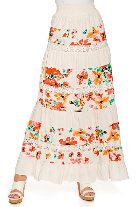 Tiered floral maxi skirt image
