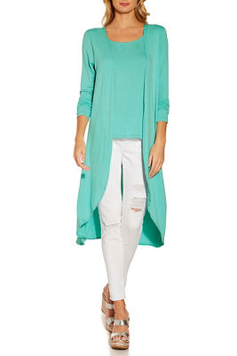 One-piece knit top-duster combo