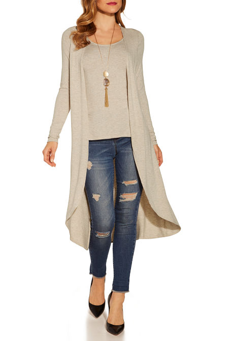 One-piece knit top-duster combo image