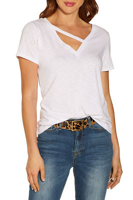 V neck asymmetric bar slub tee