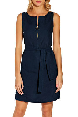 Zip up linen dress