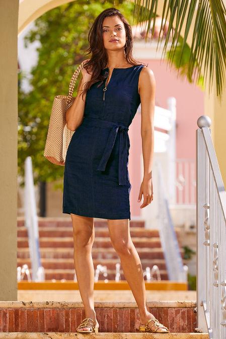 Zip up linen dress image