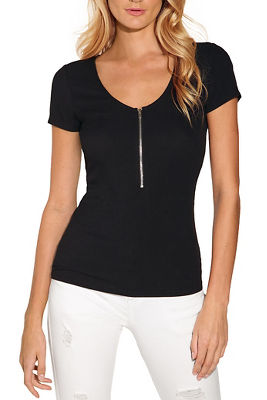 Zip up v neck top