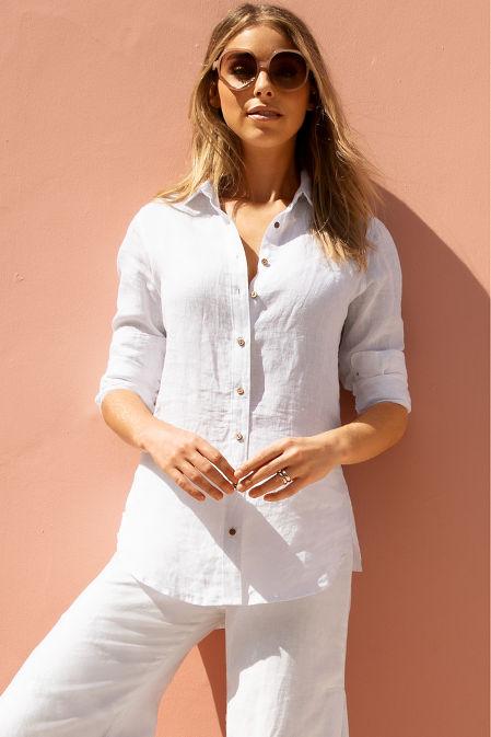 Linen button down shirt image