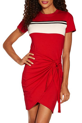 Track stripe tie front dress