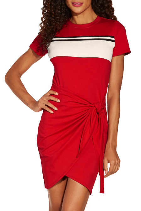 Track stripe tie front dress image