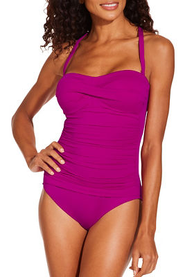 Halter ruched one piece swimsuit