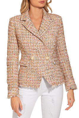 Double breasted frayed tweed jacket