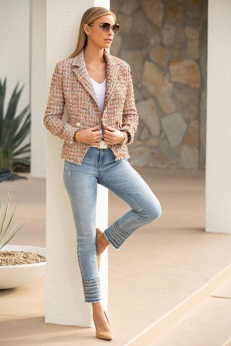 Double breasted frayed tweed jacket image